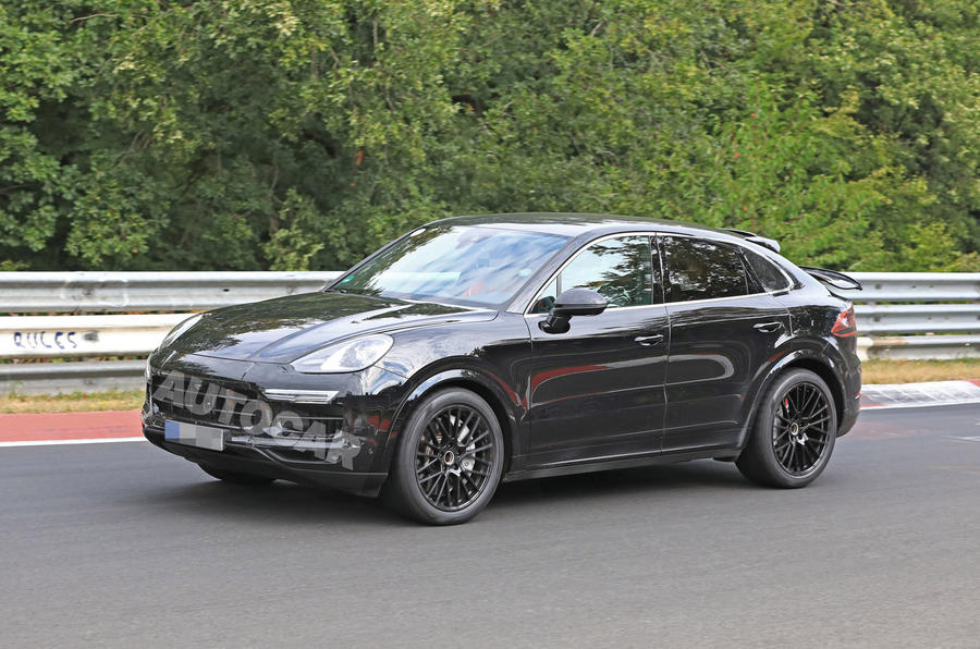 Porsche Cayenne Coupe 2019 spies Nurburgring active rear spoiler 1