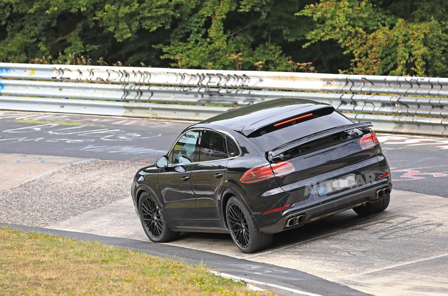 Porsche Cayenne Coupe 2019 spies Nurburgring active rear spoiler 2