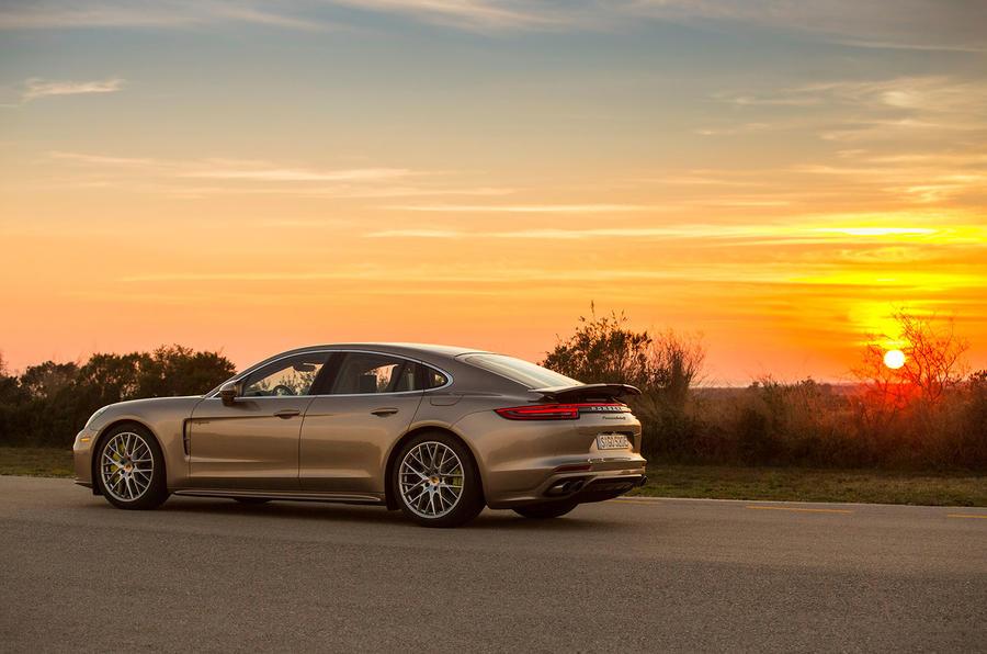 2017 Porsche Panamera Turbo S E-Hybrid side and sunset