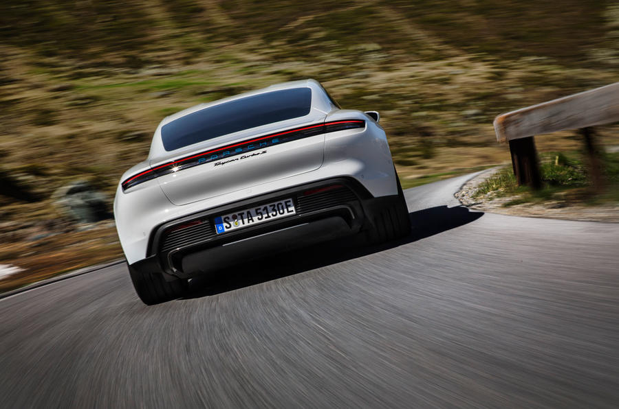 2020 Porsche Taycan reveal images - driving rear