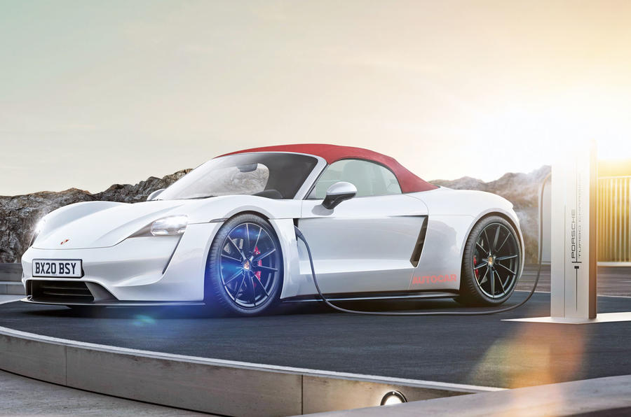 Electric Porsche Boxster render - roof up