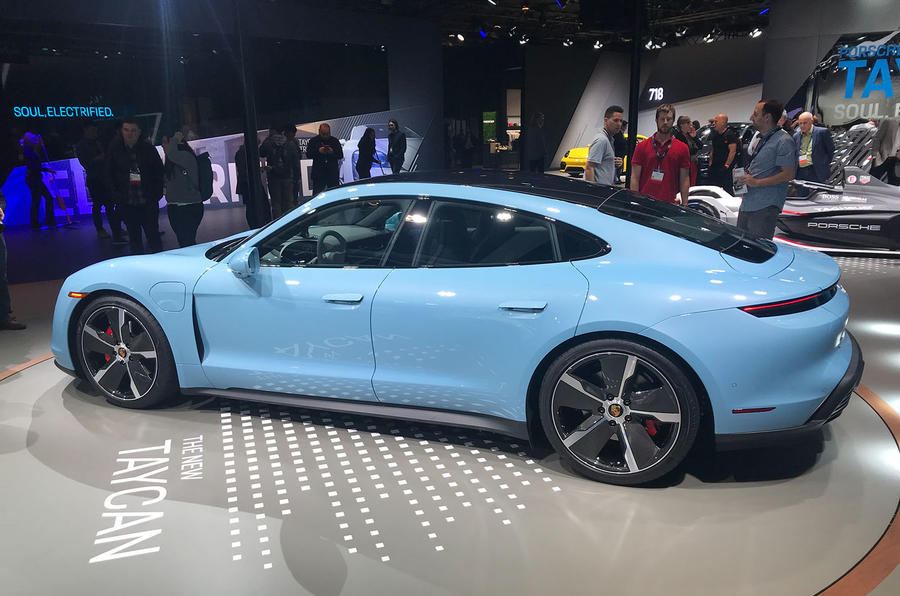 Porsche Taycan 4S at LA motor show 2019 - rear