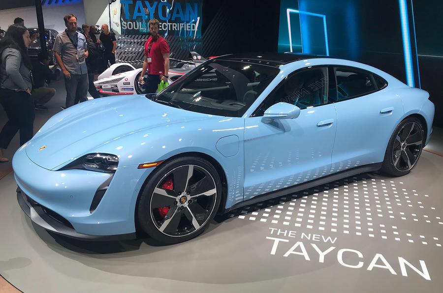 Porsche Taycan 4S at LA motor show 2019 - side