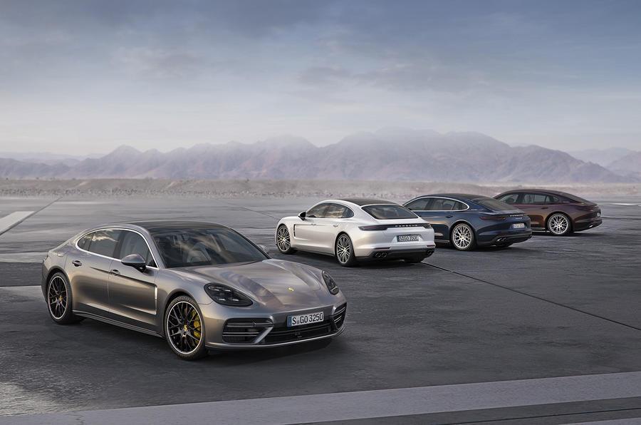 Porsche Panameras in a row
