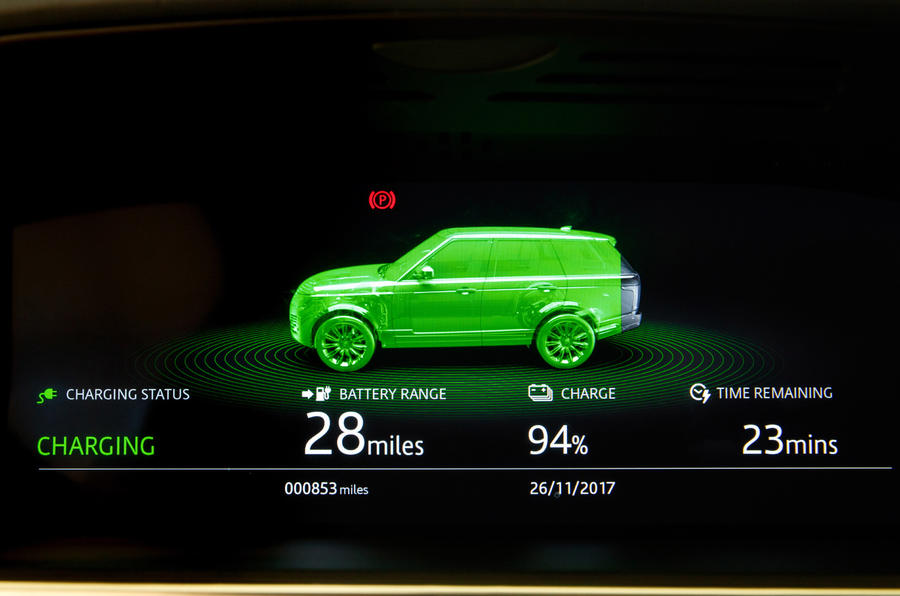 Range Rover P400e PHEV charging update screen