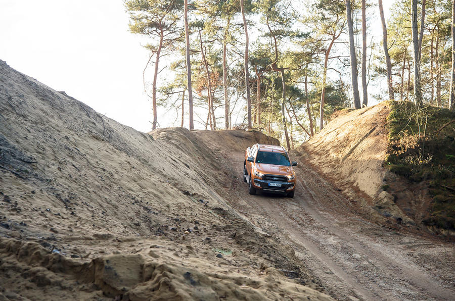 Ford Ranger Wildtrak rolling down hill
