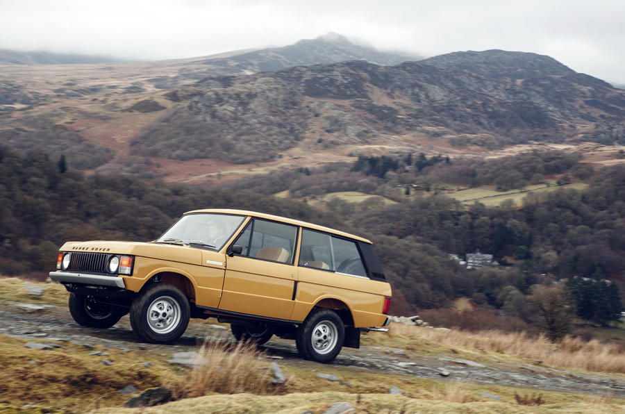 1978 two-door Range Rover going uphill