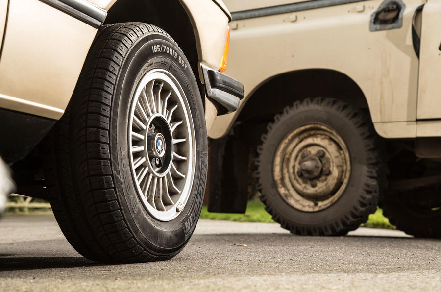 1979 BMW 320, 1964 Mini Cooper, 1984 Land Rover Series III