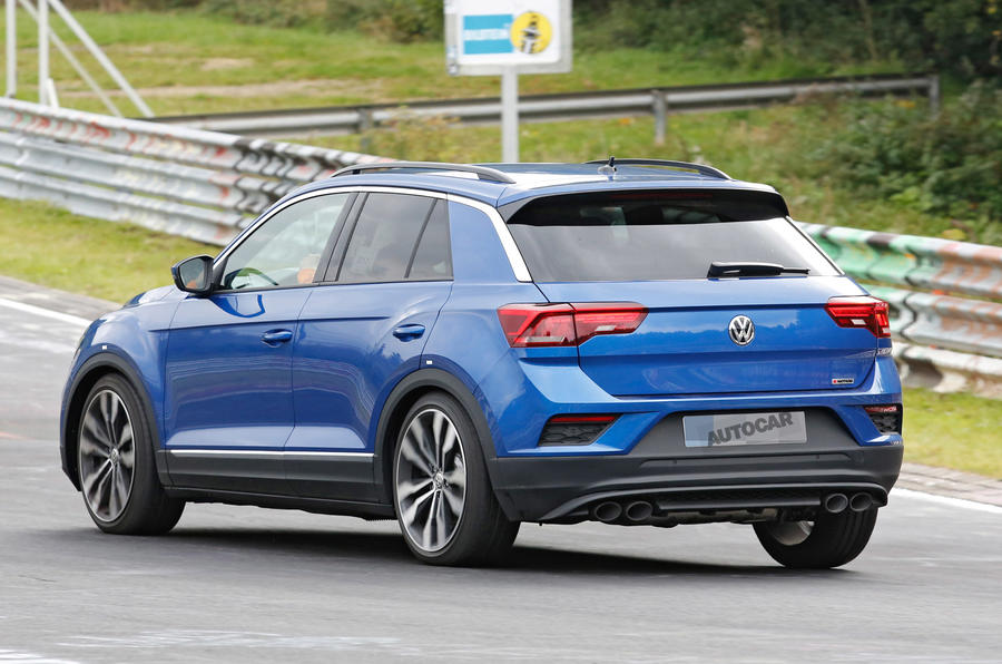 volkswagen t roc r 306bhp hot suv caught testing at the nurburgring autocar. Black Bedroom Furniture Sets. Home Design Ideas