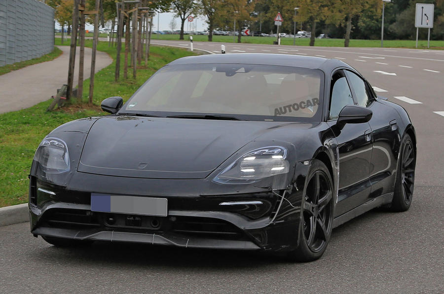 Porsche Mission E seen with production body for first time