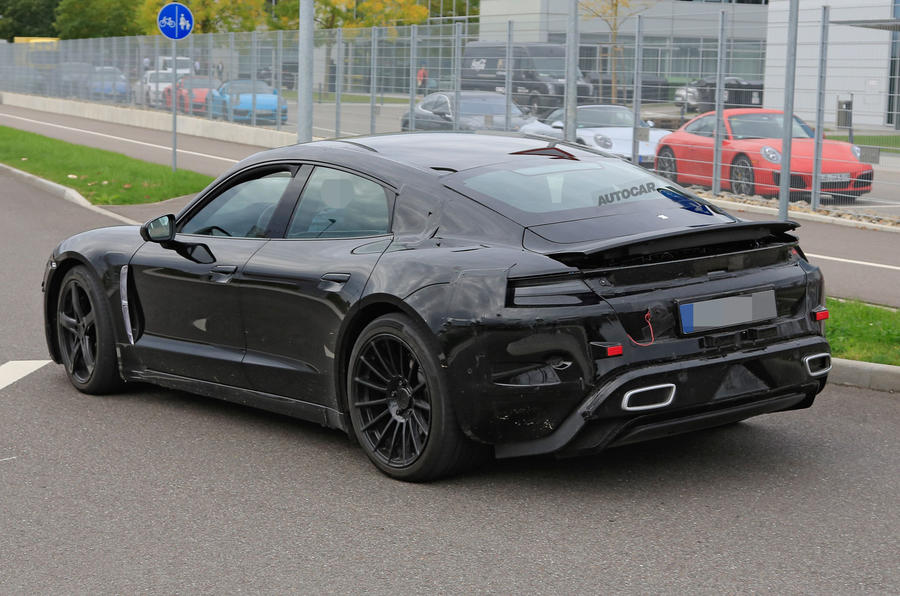 Porsche Taycan seen with production body for first time
