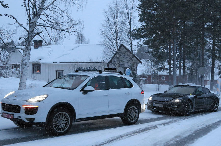 Porsche Mission E: new pictures of EV during cold weather testing