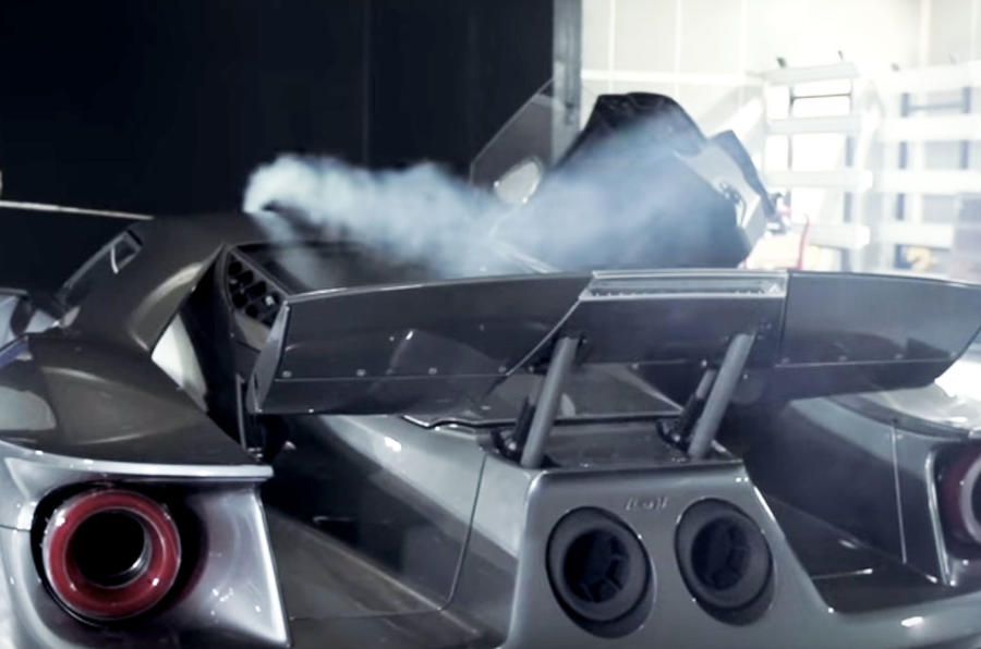 video ford gt active aerodynamics demonstrated in wind