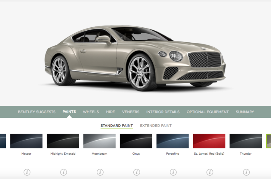 bentley continental gt конфигуратор