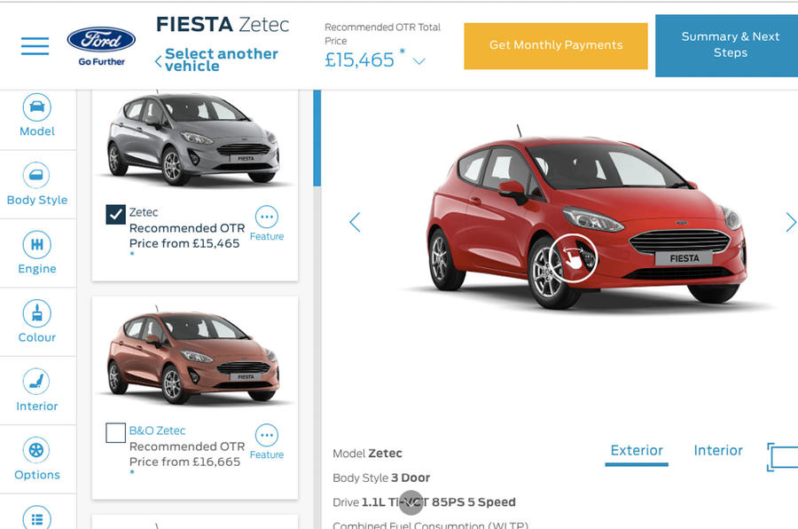 Ford Fiesta online configurator