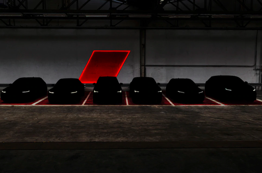 Audi darkened image showing six RS models