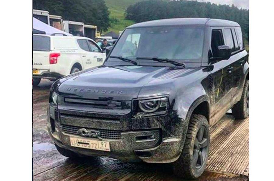 Land Rover Defender on James Bond set - front