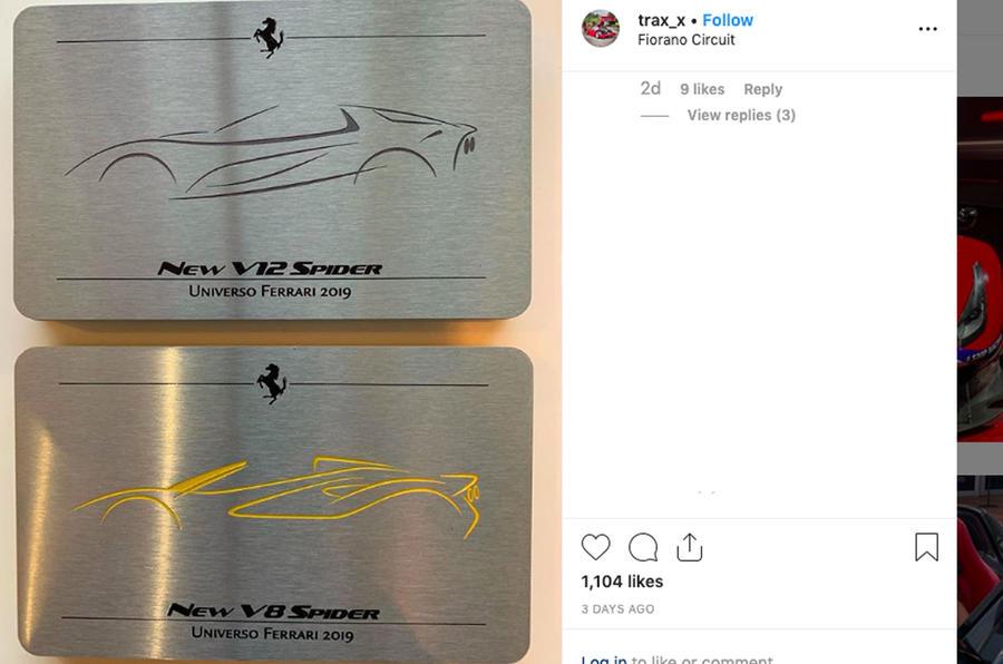Ferrari 812 convertible and F8 Spider silhouettes
