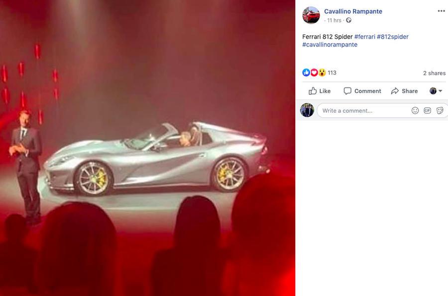 Ferrari 812 convertible private unveiling