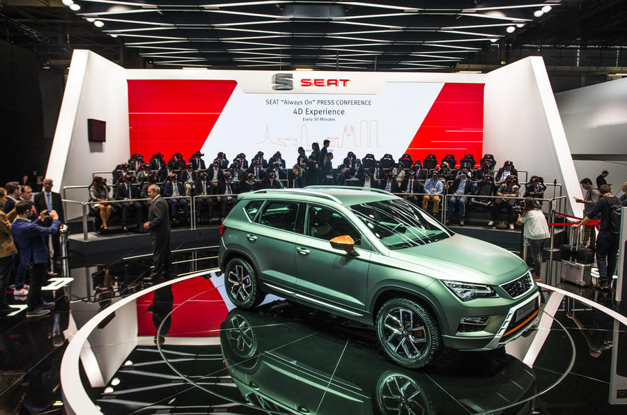 The SEAT stand at the 2016 Paris Motor Show