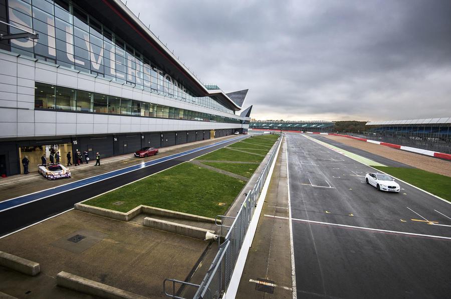 Jaguar cars testing at Silverstone