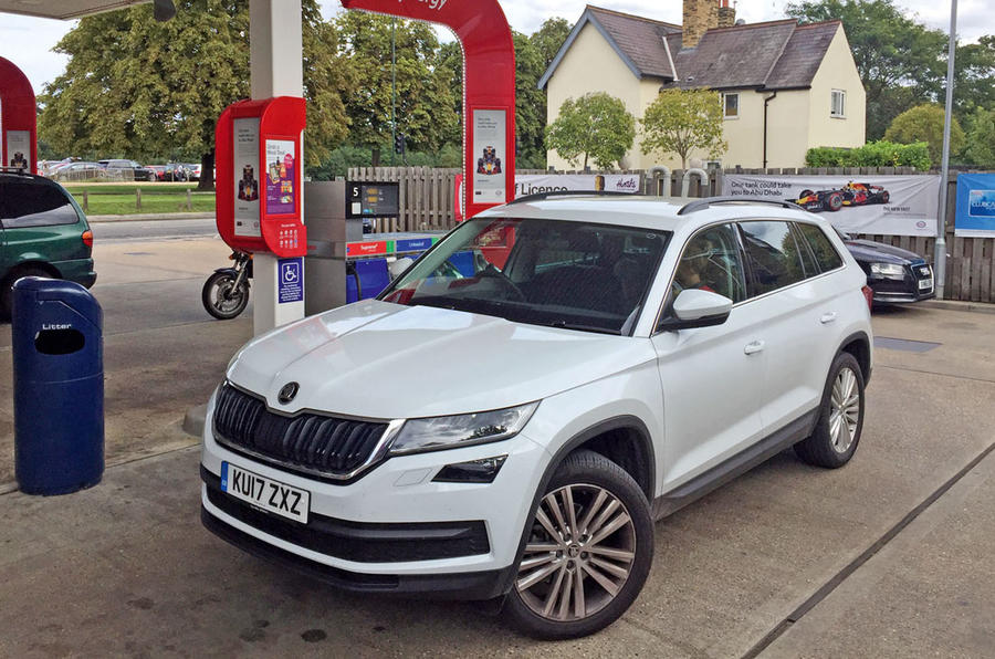 Skoda Kodiaq at the petrol station