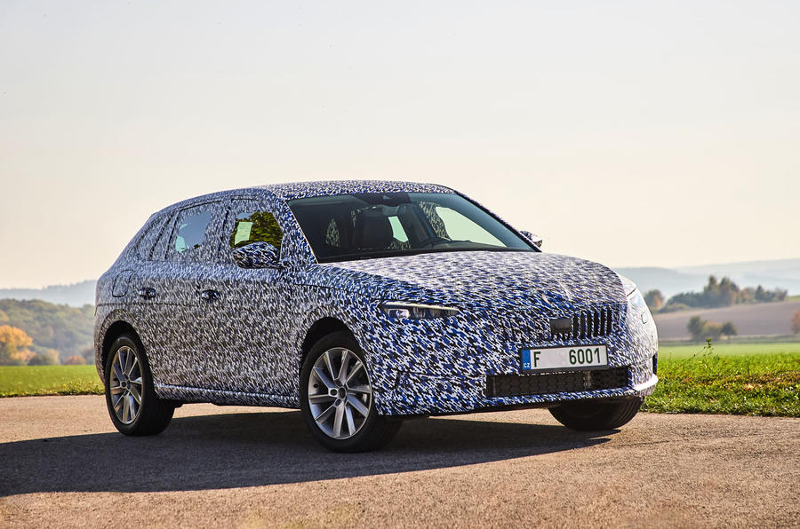 Camouflaged Skoda Scala front three quarter static