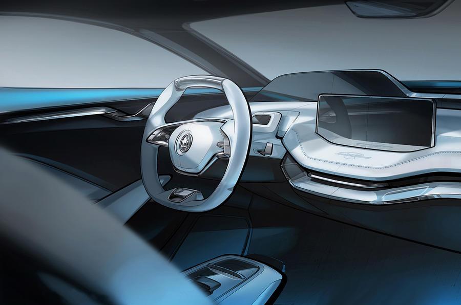 skoda vision e electric suv concept interior revealed autocar. Black Bedroom Furniture Sets. Home Design Ideas