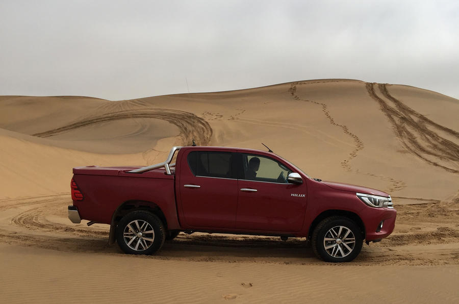 Toyota Hilux on sand dunes