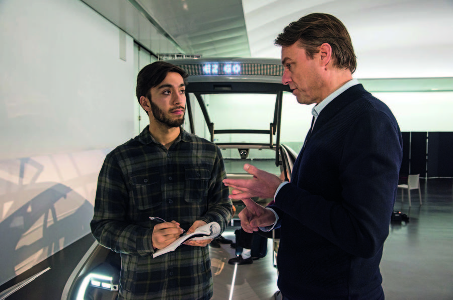 Autocar's Sam Sheehan with Renault's van den Acker