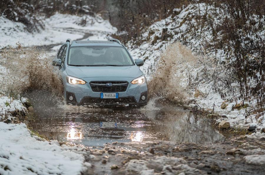 Subaru XV wading in water