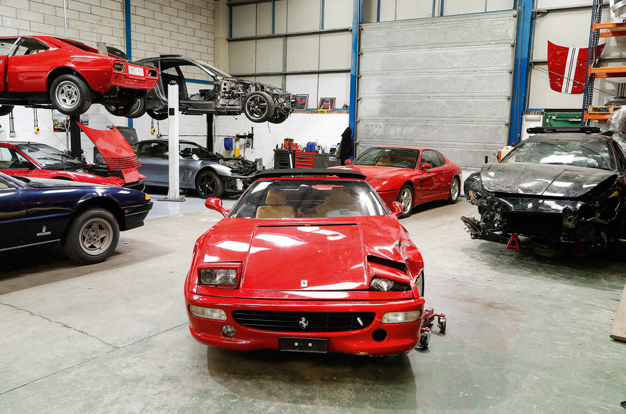 Damaged Ferraris at the breaker's yard