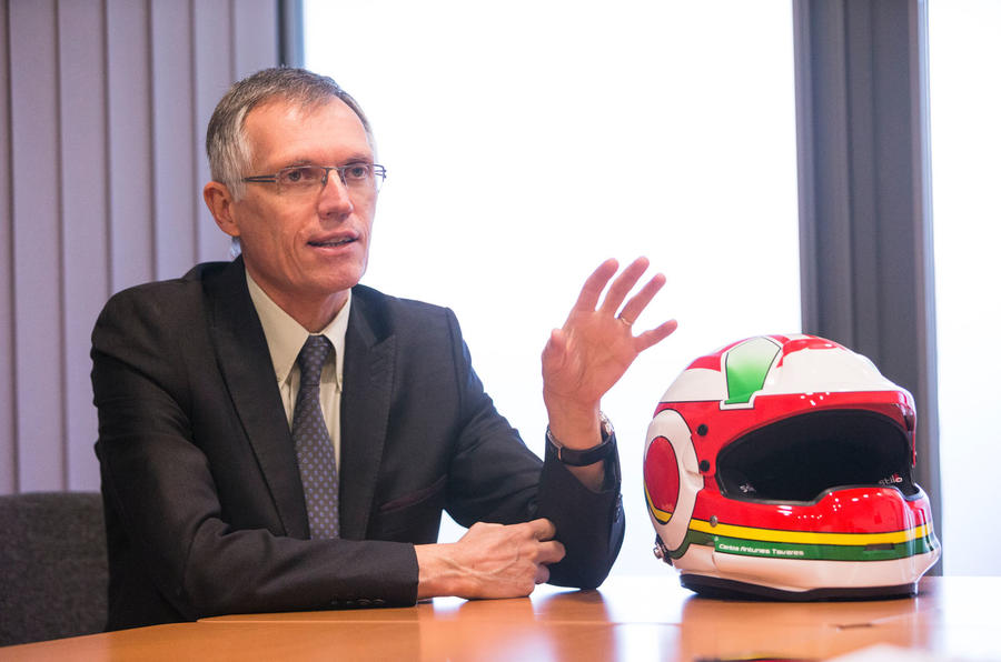 PSA chairman Carlos Tavares talks to Autocar