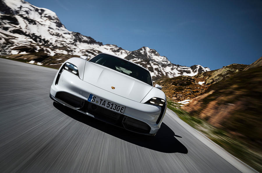 2020 Porsche Taycan press shot - front