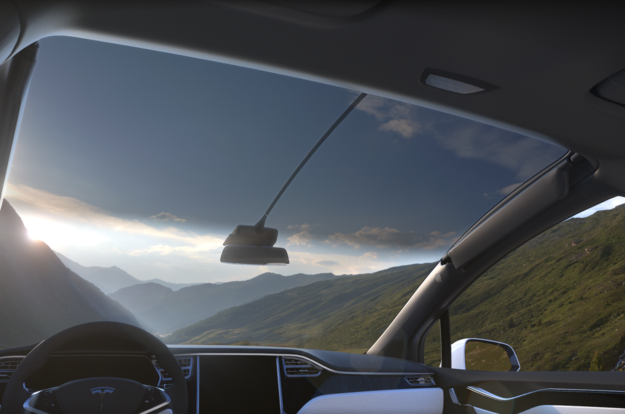 Tesla Model X panoramic front windscreen