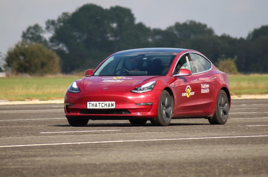 Thatcham ADAS testing Tesla front
