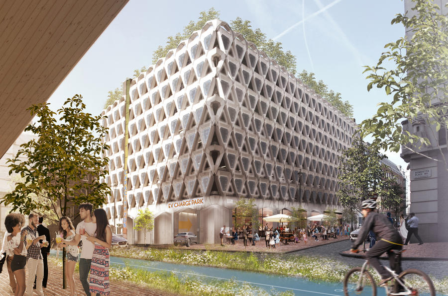 A multi-storey car park has been reimagined as a hub for electric vehicle users