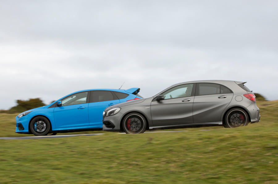 Audi TT RS vs Mercedes-AMG A45 vs Ford Focus RS - group test