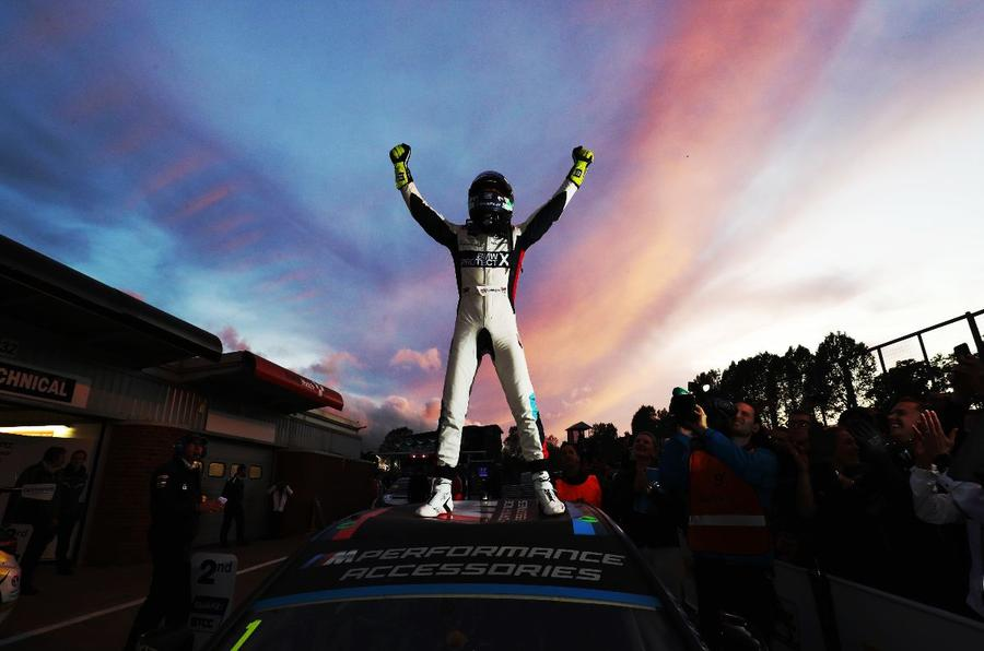 Colin Turkington celebrates victory in the 2019 BTCC title fight