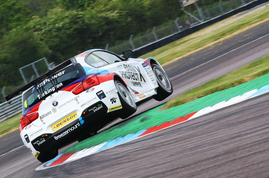 Colin Turkington claimed BMW's 100th victory at Thruxton in a 125i M Sport