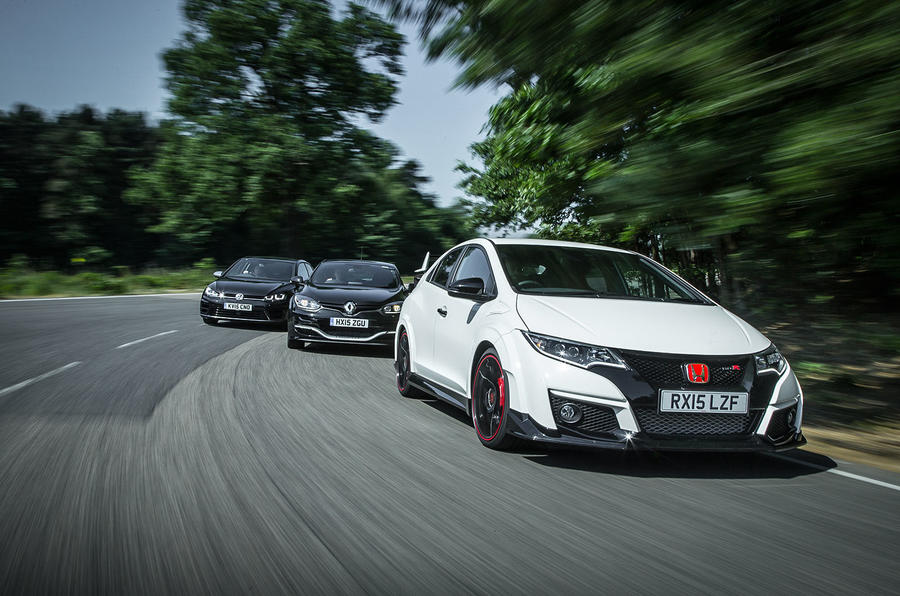 honda civic type r vs renault megane rs 275 trophy and vw