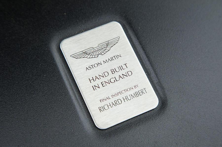 Aston Martin Vanquish S Volante builder's plaque