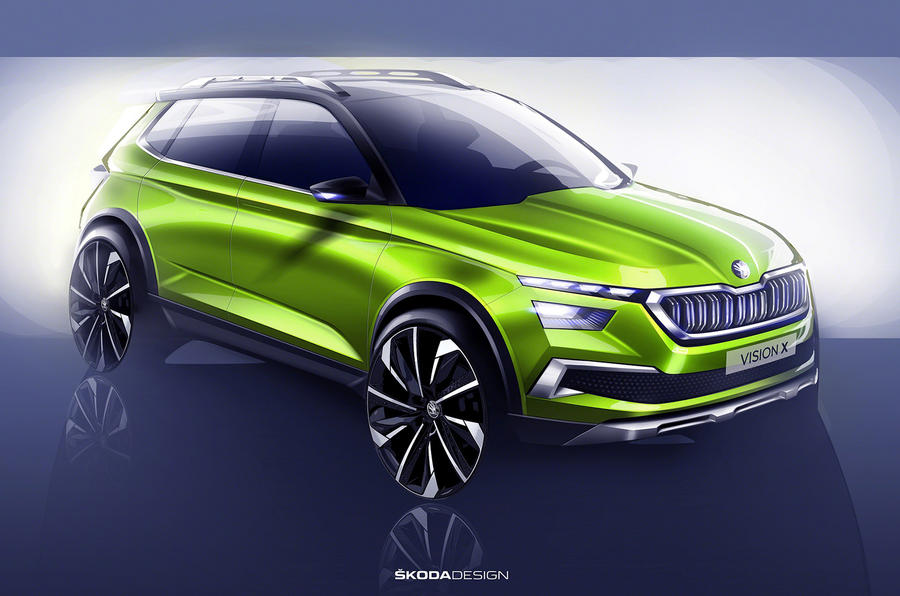 skoda vision x small suv concept previews 2019 production model autocar. Black Bedroom Furniture Sets. Home Design Ideas