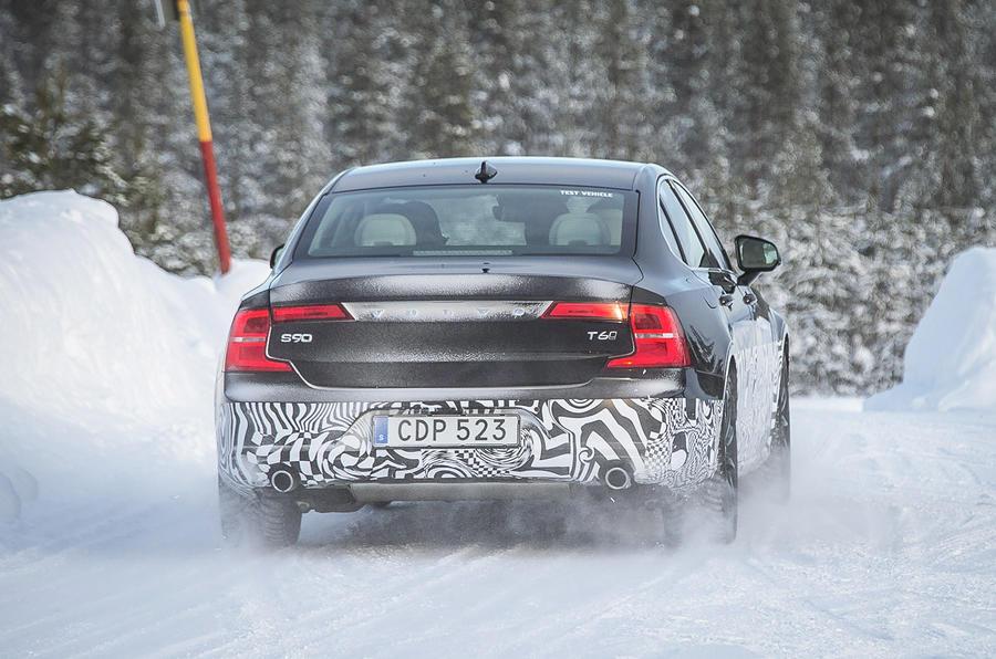 Volvo S90 prototype on snow