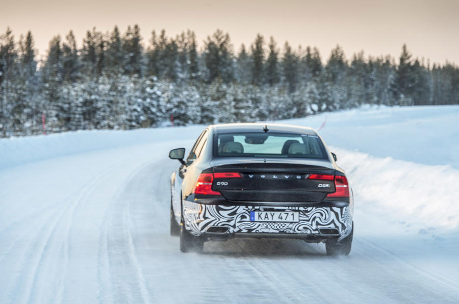 Volvo S90 prototype rear cornering