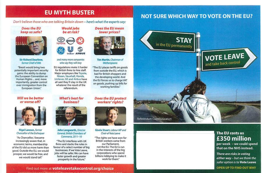 Vote Leave pamphlet