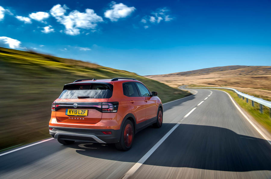 Volkswagen T-Cross rear three quarters on the road