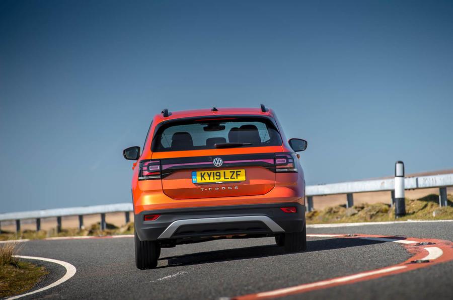 Volkswagen T-Cross rear on the road