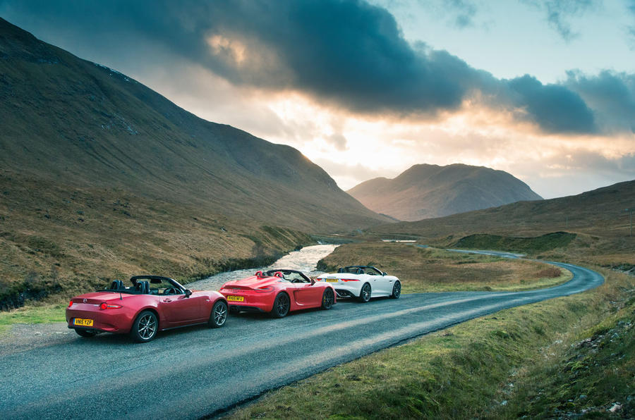 Porsche Boxster Spyder, Jaguar F-type and Mazda MX-5