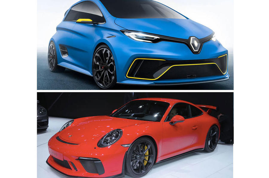 Renault Zoe e-sport and Porsche 911 GT3
